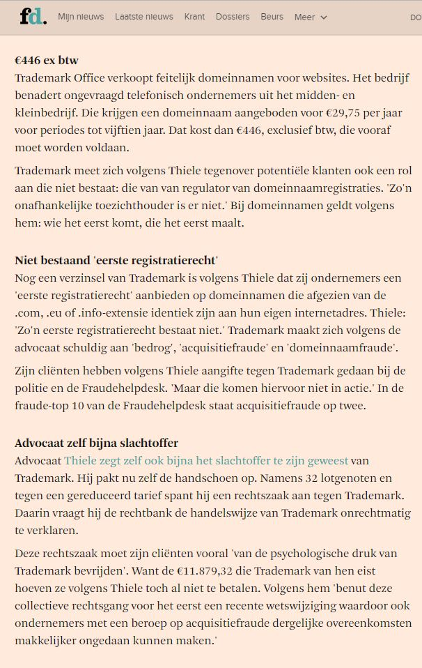 Domeinnaamfraude in Financieel Dagblad