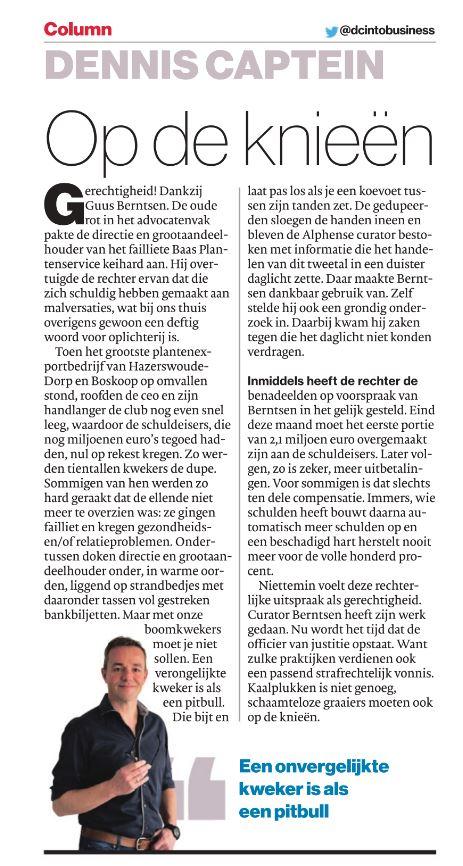 column Dennis Captein over Baas Plantenservice 6 april 2019